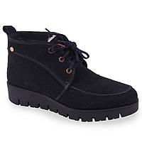 Модные женские ботинки (замшевые, зимние, синые, на платформе, на шнуровках)