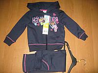 Спортивный трикотажный костюм для девочек с начесом, 3-6лет