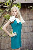 Молодежное платье трикотажное.Бантик бирюза