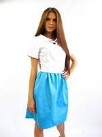 Стильное котоновое платье.  Кристи белое с голубым.
