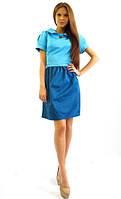 Стильное котоновое платье. Кристи голубой с синим.
