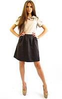 Стильное котоновое платье. Кристи шоколад+беж.