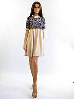 Свободное женское платье. Платье Дашуля беж