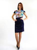 Стильное  молодежное платье юбка-блуза. Полина индиго.