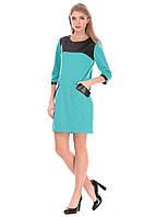 Модное бирюзовое  платье с вставками из кожзама. Шакира