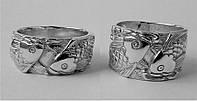 Серебряные парные обручальные кольца, кольца для двоих, кольца с рыбами рыбы, парні каблучки обручки