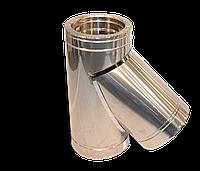 Тройник угол 45 диаметр 100мм. сталь н/н, о/н, о/о толщиной от 0,5 мм