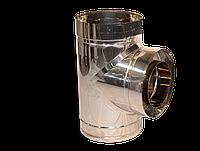 Дымоход Тройник угол 87 диаметр 120 мм толщина от 0,5 мм   сталь н/н, н/о, о/о