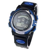 Спортивные часы с секундомером, будильником и красивой неоновой подсветкой (∅40 мм) Синие