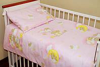 Постелька в детскую кроватку из 3-ед- розовые мишки на лестнице