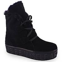 Женские ботинки El Passo ( замшевые, черные, на платформе, на шнуровках, зимние)