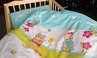 Набор постели в детскую кроватку из 3-ед- мишки с лейками голубые