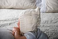 Зимняя вязанная шапочка для новорожденных (капучино)