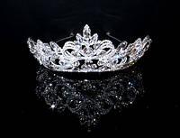 Диадема корона сияющие кристаллы на металлическом обруче