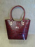 Женская сумка бордовая,каркасная под рептилию(Турция)