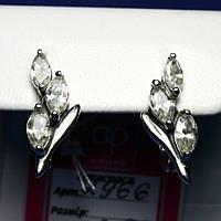 Женские серебряные серьги с ювелирными камнями 2966