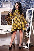 Женское демисезонное пальто желтая клетка Д/С В - 909 Helsing