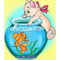 """Картина-раскраска """"Кошка с аквариумом"""""""