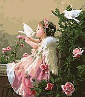 """Картина по номерам """"Ангелочек с голубями худ. Грошев, Слава """""""