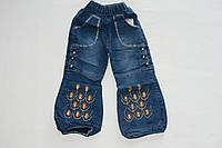 Штаны теплые джинсы на флисе для девочек 1-3 года