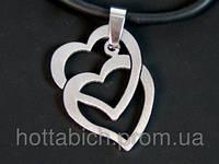 Металлический кулон Два сердца