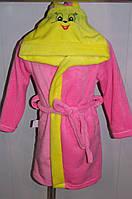 Халат с капюшоном Зайка махровый 26-32 р розовый с желтым цвета.