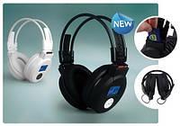 Наушники беспроводные со встроенными MP3-плеером, с микрофоном, ЖК-дисплеем и съемным аккумулятором.