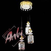 Люстра металлическая на тросах со светодиодной подсветкой для детской, спальни, кухни