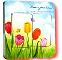 Наклейка на выключатель Тюльпаны 3D декор
