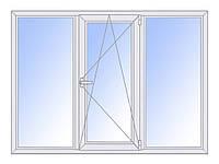 Окно трехстворчатое поворотно-откидное 1350х2500 профиль AFT