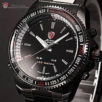 Наручные мужские часы SHARK LED Digital Date Day Alarm Stainless Steel Men Quartz Sport Watch