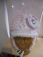 Зимняя меховая шапка с козырьком для девочки