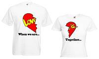 """Парная футболка """"Love is"""", размер женская XS, мужская S"""