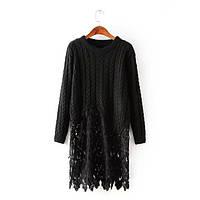 Женский модный длинный свитер с кружевом (3 цвета)