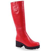 Стильные женские сапоги Viko (кожаные, красные, зимние, на плафторме, на каблуке, есть резинка, на замке)