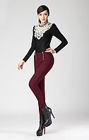 Женские тёплые узкие брюки без пояса