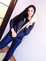 Спортивный костюм женский зимний Монклер темно синий , спортивные костюмы