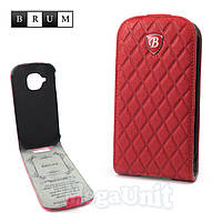 Brum Premium Кожаный чехол для Samsung Galaxy S3 mini i8190 (No.77 red)