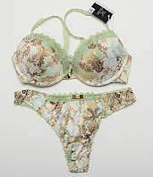 Комплект женского нижнего белья Fajishi со стрингами оливковый 70-85BC k5055