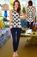 Пижама майка и леггинсы ( Бежевый с синим)