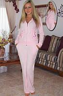 Велюровый костюм (кофта и брюки) (Розовый)