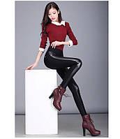 Женские брюки-леггинсы с кожаными вставками