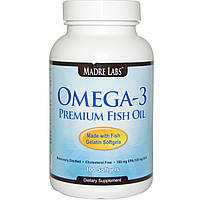 Омега-3 Premium Fish Oil Madre Labs Omega 3 100 Капсул по 1 г.