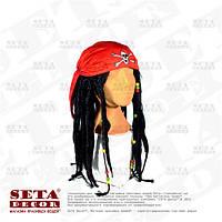 Красная бандана пиратская с дредами и косичками