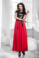 Макси платье со вставками из экокожи