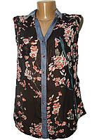 Блуза шифоновая без рукава черная