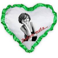 Подушка А4 зеленая окантовка с фото