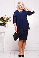 Нарядное платье имитация кардигана стрейч-креп+шифон+кружево батальное