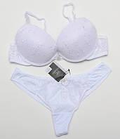 Комплект женского нижнего белья пуш-ап с вышивкой Fajishi с трусиками танга белый 70-80C k5057