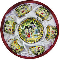 """Сервиз из тонкого фарфор (6SCS86)  Yamasen 6 чашек + 6 блюдец """"Зеленая ива"""" (110 МЛ)"""